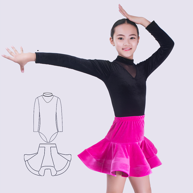 Latin Dance Skirt Children Long Latin Practice Clothes Professional Latin Dance Competition Dresses Girls Rumba Outfit DQL1302