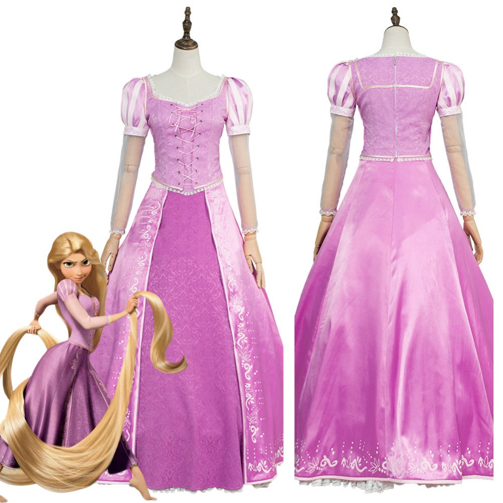 Tangled Cosplay Princess Rapunzel Dress Cosplay Costume Version 2 Adult Women Girl Dress Halloween Carnival Costumes