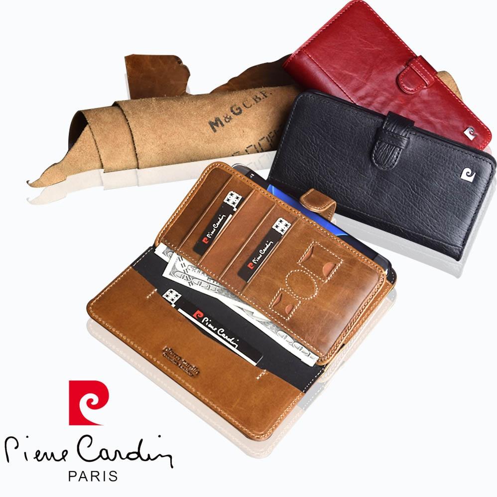 Tout nouveau étui en cuir véritable de luxe pour téléphone portable pour Samsung Galaxy S7/S7 Edge portefeuille Flip Stand Pierre Cardin