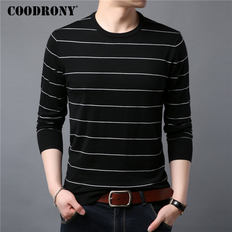 COODRONY Sweater Men Thin Knitwear Cotton Wool Pull Homme 2019 Spring New Mens Sweaters Striped Casual O-Neck Pullover Men 91016