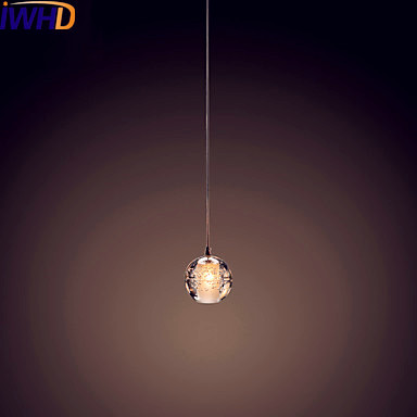 IWHD Single Head Crystal Ball LED Pendant Light Fixtures Dinning Room Modern Pendant Lamp Hanging Lights Lustres De Crista