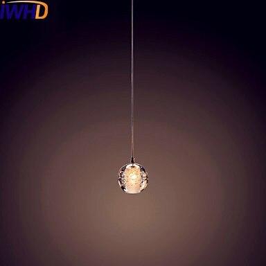 Iwhd одной головы хрустальный шар led подвесные светильники столовая современный подвесной светильник подвесной огни люстры de Криста