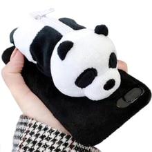 For iPhone 8Cute Fuzzy Furry Rabbit Hair Warm Plush Fur 3D Polar Bear and Panda Toy Doll Novelty Coin Purse Zipper Soft TPU Case недорого