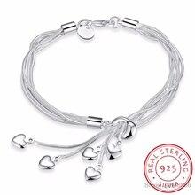 LEKANI 925 пробы серебряный крючок для браслетов пять сердец Высокое качество ювелирные изделия аксессуары серебряный браслет