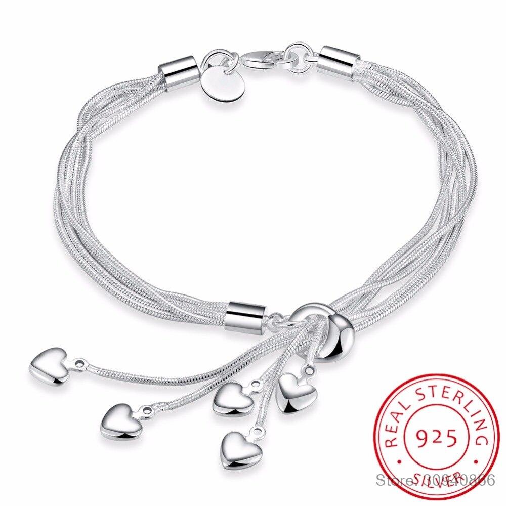 LEKANI Wholesale 925 Sterling Silver Bracelet Hook Five Heart High Quality Fine Jewelry Accessories Silver Bracele