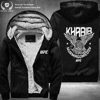 Dropshipping USA Size Unisex Men Khabib Nurmagomedov The Eagle Russian Ufc Jacket Zipper Sweatshirt Jacket Fleece Hoodies Coat