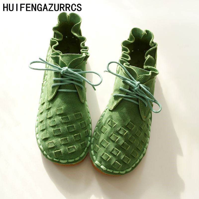 HUIFENGAZURRCS pure handmade shoes the retro art mori girl Flats shoes fashion casual shoes Vintage sweet