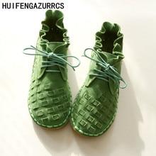 HUIFENGAZURRCS pure handmade shoes the retro art mori girl Flats shoes fashion
