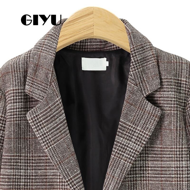 GIYU Spring Autumn Women Plaid Printing Blazer Long Sleeve Jackets Pockets Sexy Tops Casual Single Breasted Camiseta Mujer