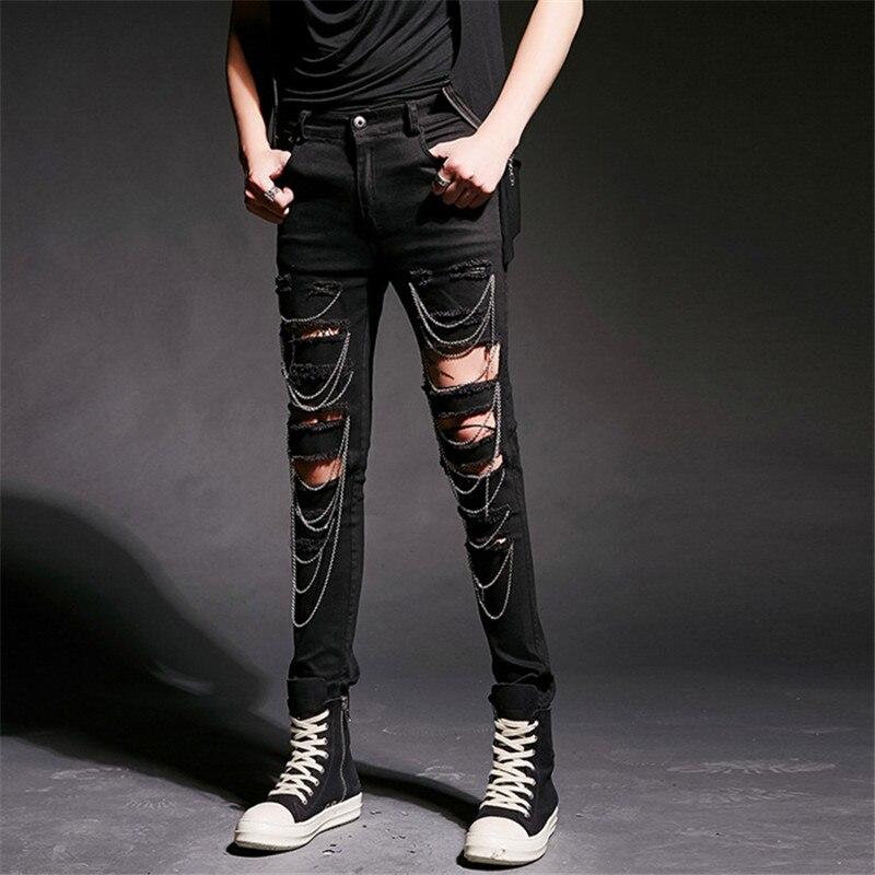 Punk Non-mainstream Patch Hole Finishing Retro Denim Trousers Male Men's Hole Pant Slim Feet Pants Night Show Costume Clothes