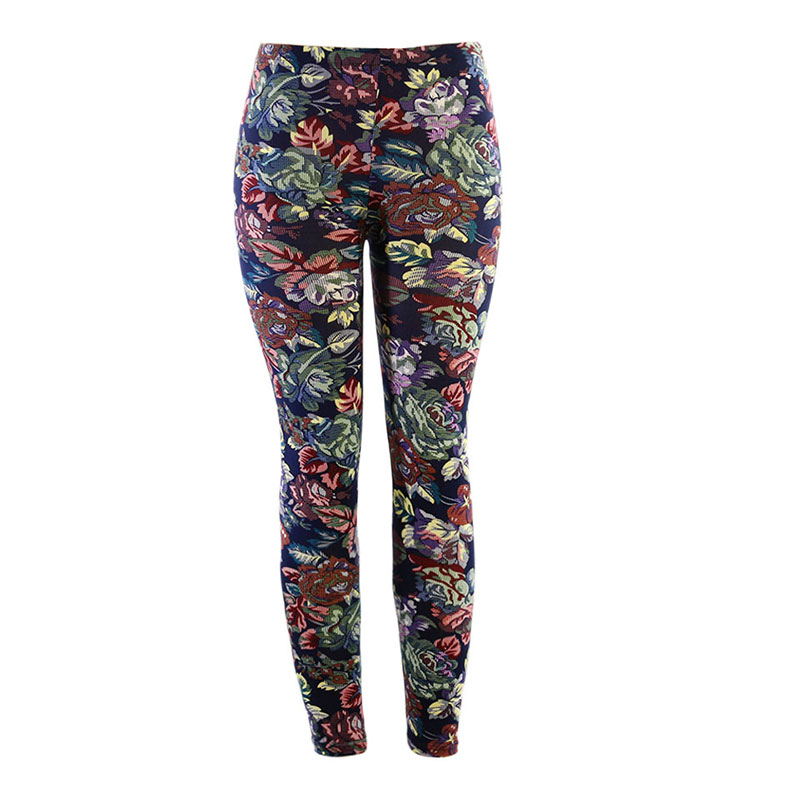Yesello Summer Women   Legging   Printing leaf High Elasticity Fitness Leggins Soft Skin Material Woman Trousers Stretch Pants