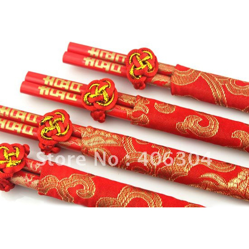 Wood Chinese chopsticks printing both the Double Happiness and Dragon Wedding chopsticks favor wedding praty fine