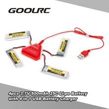 4 pcs GoolRC 3.7 V 500 mah 25C li-po Bateria-com 4 em 1 Carregador de Bateria USB para GoolRC T37 JJR/C Zangão H37 Quadcopter