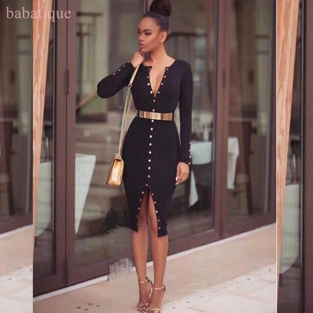 b06845786b6d Estate 2017 moda Donna elegante nero beige con paillettes sexy del Vestito  dalla fasciatura manica lunga