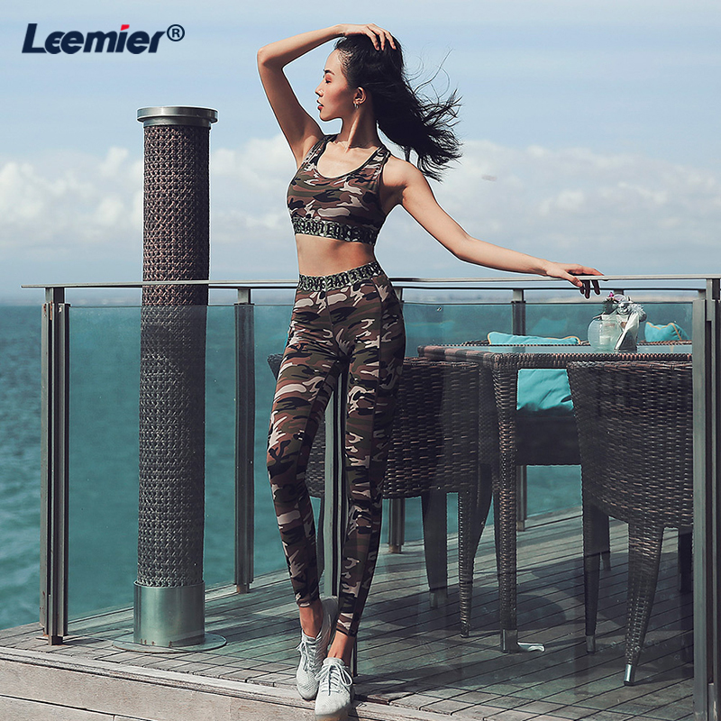 Women Gym Sets 2 Piece Gym Wear Sport Set High Waist Tracksuit Clothes Women Fitness Workout Set CAMO Color Bodysuit in Yoga Sets from Sports Entertainment