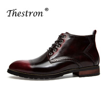 Thestron Dress Shoes Men Formal Leather Black and Red Brown Mens Pointed Toe Fashion Cheap Cool Comfortable