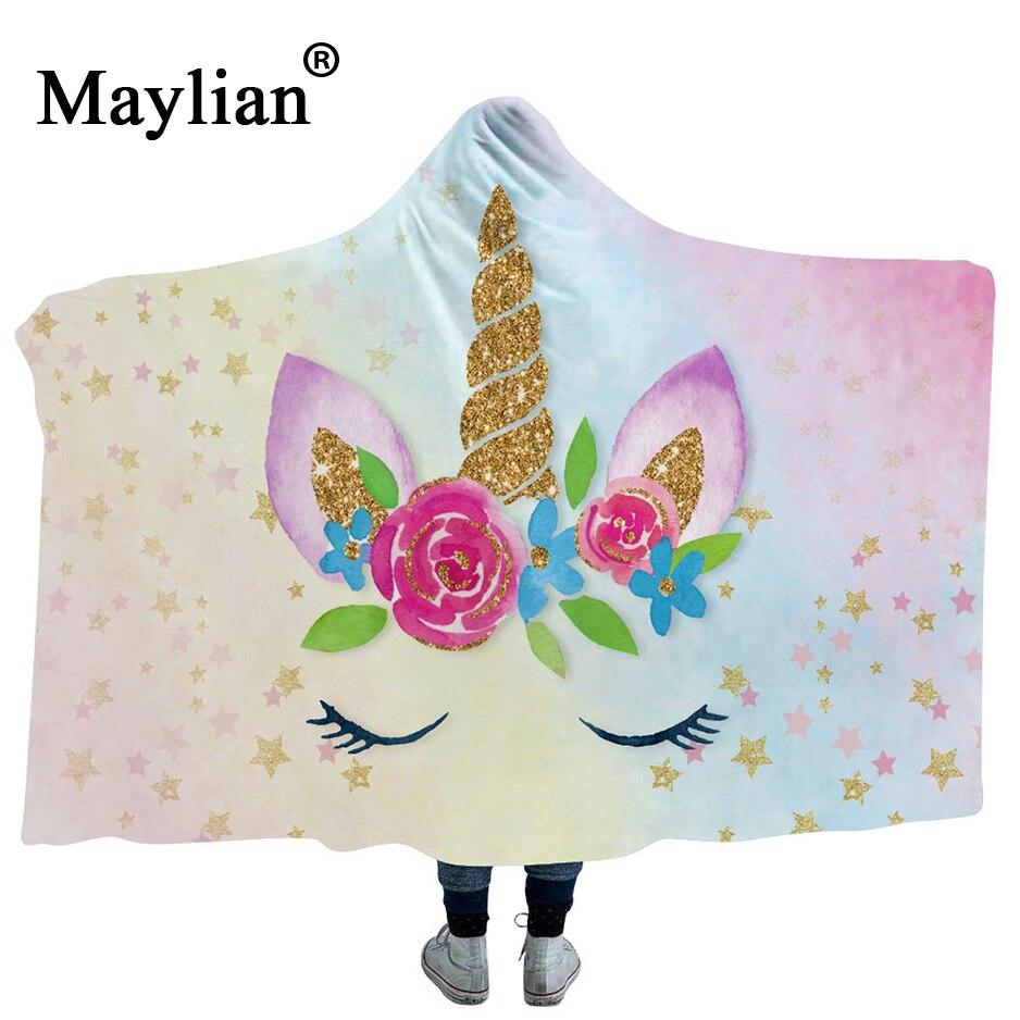 19colors Unicorn Boho Mandala Hooded Blanket Floral Sherpa Fleece Lotus Wearable Throw Blanket Microfiber on Sofa Thick warm B69