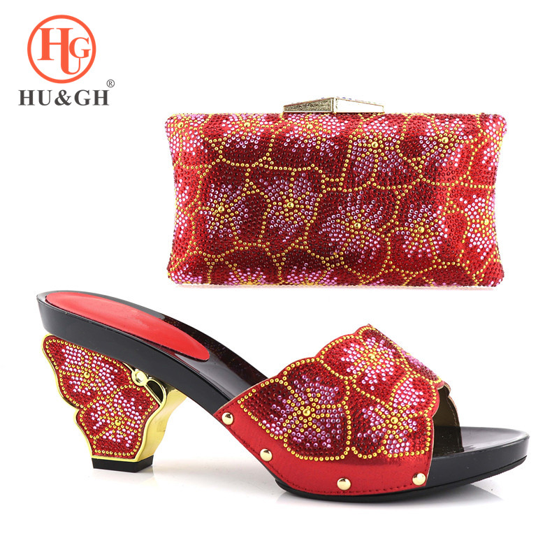 African Shoe and Bag Set New 2018 Women Shoes and Bag Set Red Color Italian Shoes with Matching Bags Set Decorated with Stone цены онлайн