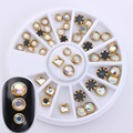 1 Box Gold Border Nail Decoration Flat Bottom Square Round 3D Manicure Nail Art Decor in Wheel