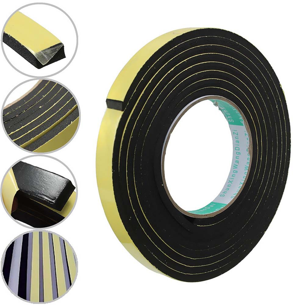 3 meter Window Door Foam Adhesive Draught Excluder Strip Sealing Tape Adhesive Tape Rubber Weather Strip E/D/I-type 3Colors 5m e type foam draught self adhesive window door excluder rubber seal strip