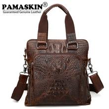 PAMASKIN Luxurious Cowhide Leather Embossing Crocodile Pattern Men Handbags 2017 Large Capacity Men Messenger Cross-body Bags