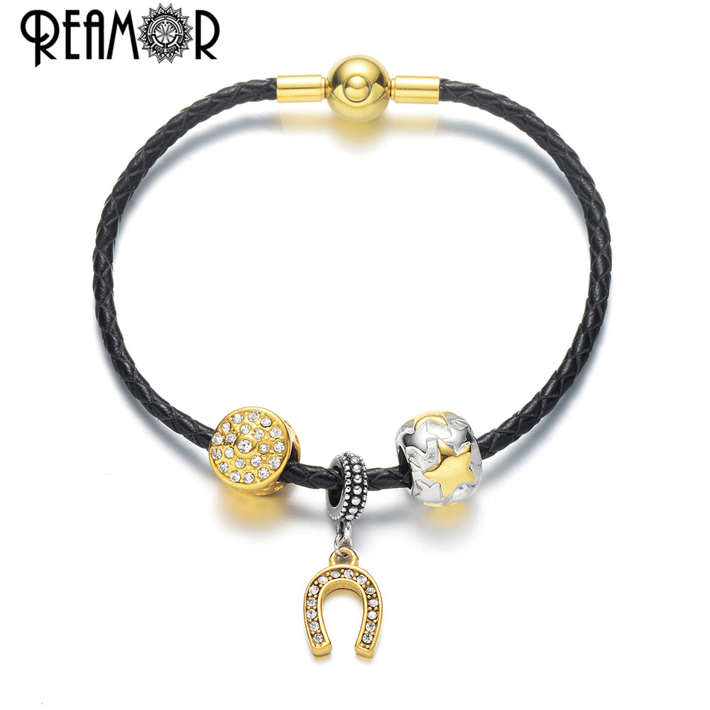 Us 16 4 40 Off Reamor Stainless Steel Gold Lucky Horseshoe Charms Bracelet Women Genuine Leather Braided Bracelet Bangles Diy Original Jewelry In