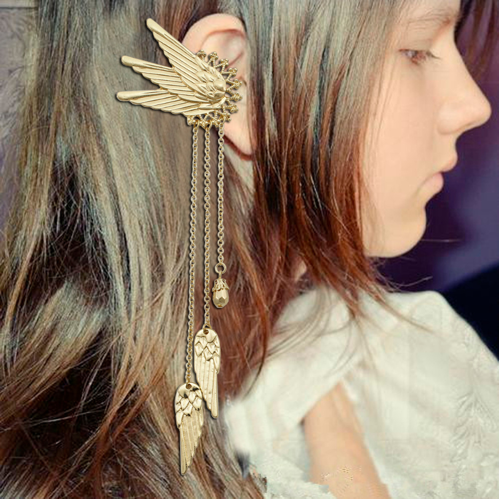 1 Pair Fairy Tail Elf Pixie Angel Wing Long Chain Tassel Ear Cuffs Ear Clip On Pinzas <font><b>Earrings</b></font> oorbellen Brincos Jewelry Costume