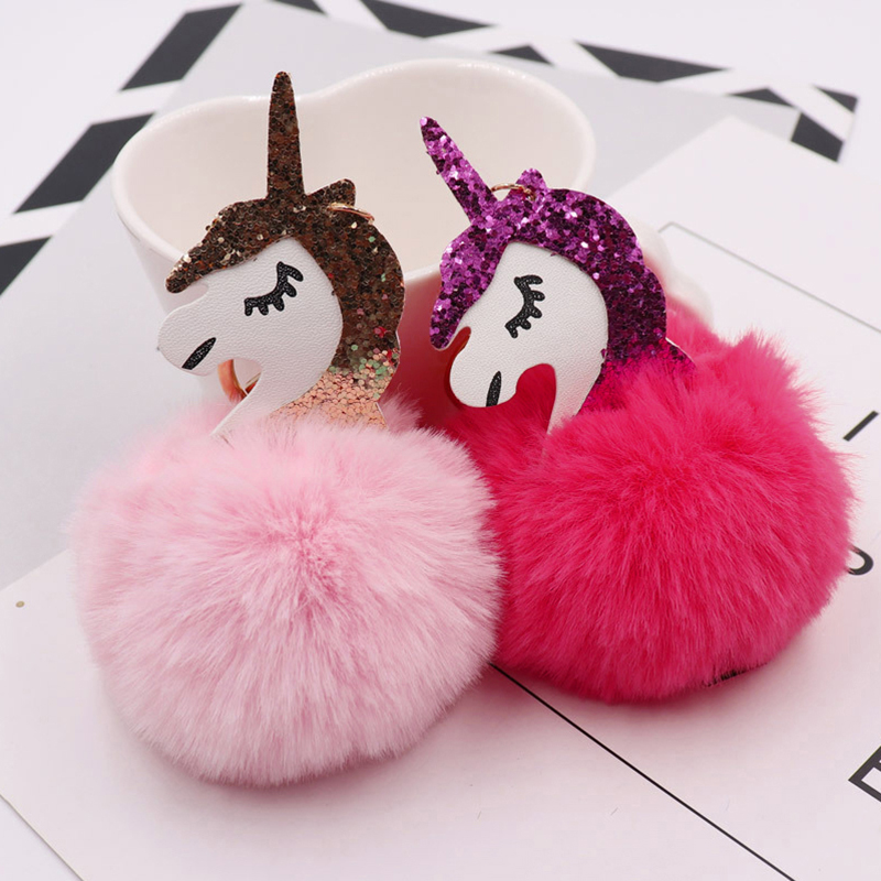 Anime Unicorn With Pom Pom Plush Toy With Keychain Unicorn Key Pendant  Soft Stuffed Animal Toys Kids Girls Bag Hang Pendant #6
