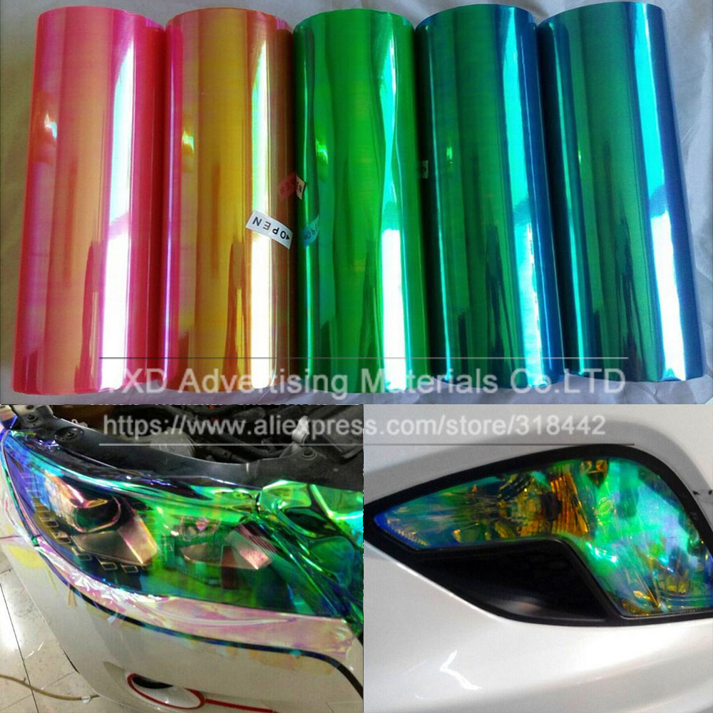 1 roll Shiny Chameleon Auto Car Styling headlights Taillights film lights Change Color Car film Stickers Car Accessories
