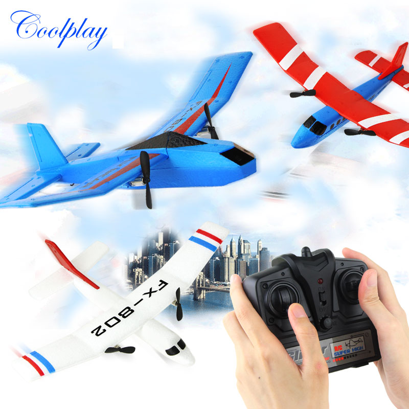 Hot Sale RC Plane RTF 2CH FX802 EPP Material RC Airplane RC Plane Model RC Glider Drone Outdoor Toys For Kid Boy Birthday Gift } hot sale tygzs black flyer v1 2 4g 6ch carbon fiber film rc model airplane plane bnf