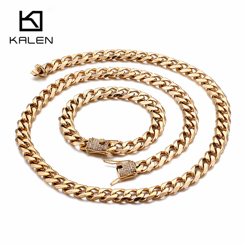 KALEN Unisex Gold Stainless Steel Statement Jewelry Sets Chunky Rhinestone 76cm Long Chain Necklace & Link Chain Bracelet Set thick gold chain set wholesale men s jewelry white black crystal buckle necklace bracelet stainless steel jewelry sets