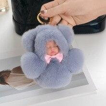 Fasnion 12cm Cute Sleeping Baby Doll Key Chain Real Rex Rabbit Fur Keychain Fluffy Pom Pom Keyring Bag Car Trinket Women Gift