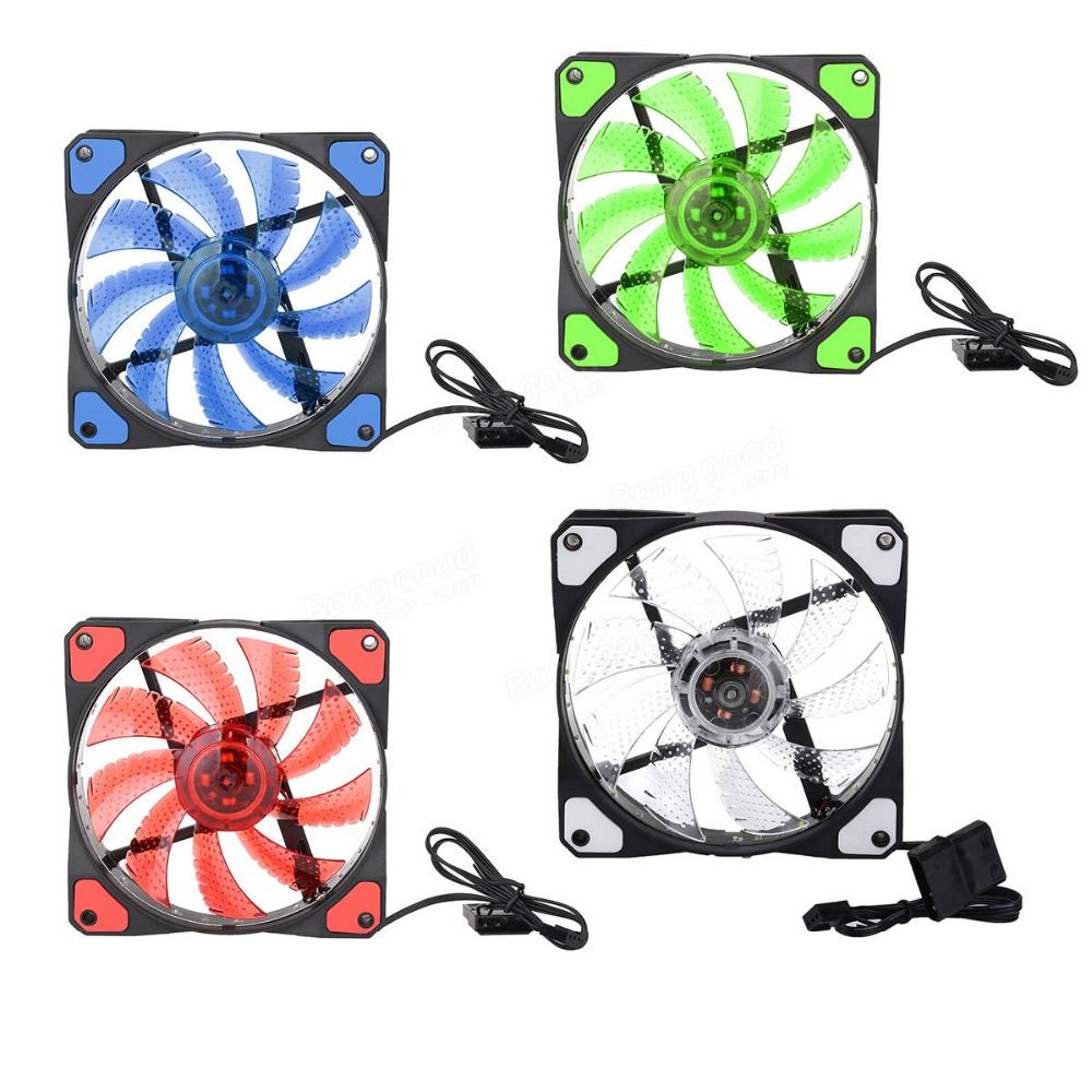Quiet Durable 120mm PC Computer 16dB Ultra Silent 33 LED Light Up Case Fan Heat Sink Cooling Fan 12V DC Long Life Bearing