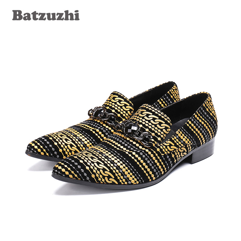Batzuzhi Pointed Toe Zapatos Hombre Men Shoes Italian Designer Men Dress Shoes Flats Black Gold Pop Party and Wedding Men ShoesBatzuzhi Pointed Toe Zapatos Hombre Men Shoes Italian Designer Men Dress Shoes Flats Black Gold Pop Party and Wedding Men Shoes