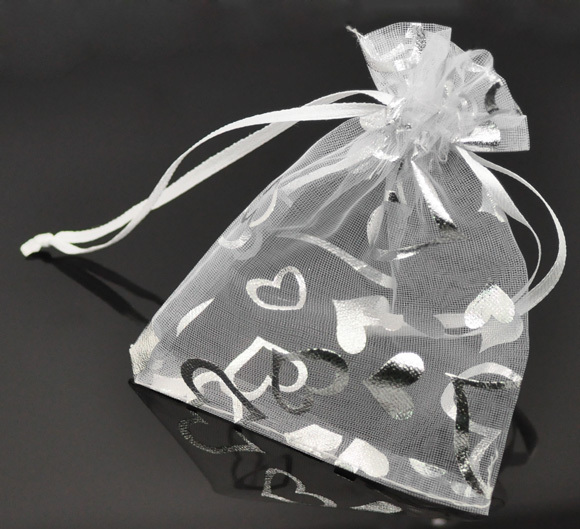 "DoreenBeads White Heart Organza Wedding Gift Bags Pouches 9x12cm(3-1/2""x4-3/4""),"