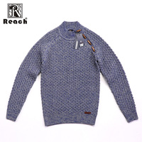 Reach Pullovers Europe Size Vintage Sweater Winter Turtleneck Cotton Men Loose Solid Long Sleeves Retro Casual