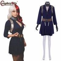 CosplayDiy Anime My Hero Academia Shoto Todoroki Cosplay Blue Dress Costume Boku no Hero Akademia Battle Suit Women custom made