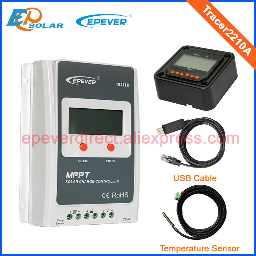 Solar mini charge controller Tracer2210A 12v 24v auto type USB cable temperature sensor black color MT50 20A