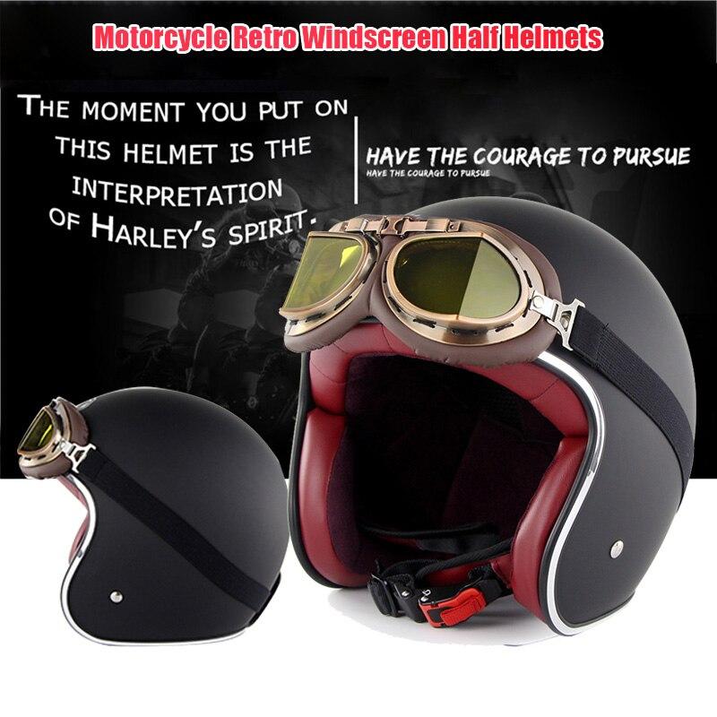 Demi-casque de moto en cuir rétro casque de moto Vintage avec lunettes TD326