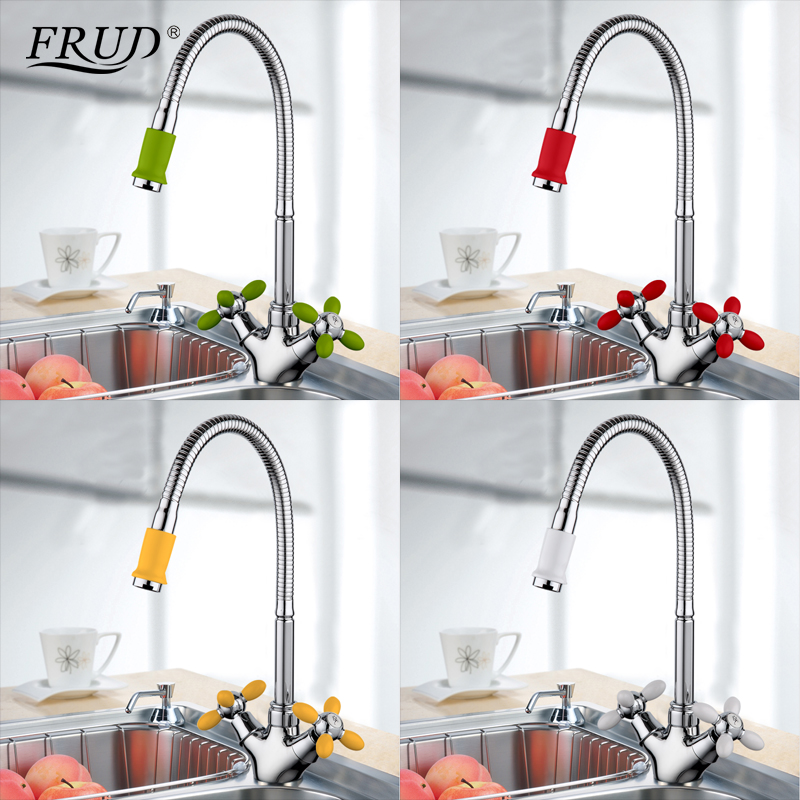 FRUD Solid Kitchen Mixer Cold And Hot Flexible Kitchen Tap Single Lever Hole Water Tap Kitchen Faucet Torneira Cozinha R43127-6