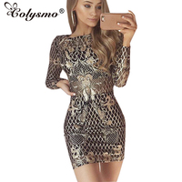 Colysmo Fashion Long Sleeve O Neck Sexy Sequin Dress Gold Autumn Sheer Party Dress Winter Women