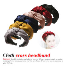 Fashion knotted headband Korea wide-brimmed fabric cross  simple adult jewelry