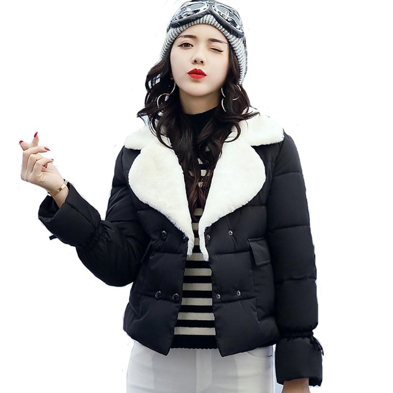 2019 hot sale women winter short jacket female turn down collar outerwear warm coat solid button parka chaqueta feminino