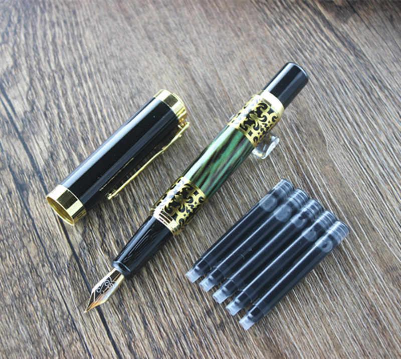 DIKA WEN 8012 Mewah Emas Tinta Pena dengan Berlian Klip halus Logam Fountain Pen tas Pensil tinta Refill Tinta Converter pilih