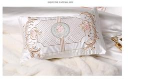 Image 5 - Jogo de cama de algodão rainha, conjunto de roupa de cama branca de luxo em seda com cama king size, cama egípcia, lençol/capa de edredon conjunto de parure de lit