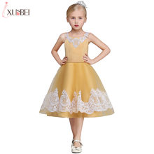 Real Photo Vàng Trà Chiều Dài Flower Girl Dresses 2019 Tulle Satin Rước Dress Appliqued Vest Pageant Dresses Cho Trẻ Em(China)