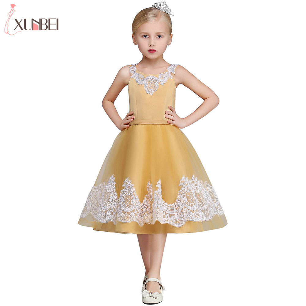 Real Photo Golden Tea Length   Flower     Girl     Dresses   2019 Tulle Satin Communion   Dress   Appliqued Vest Pageant   Dresses   For Child