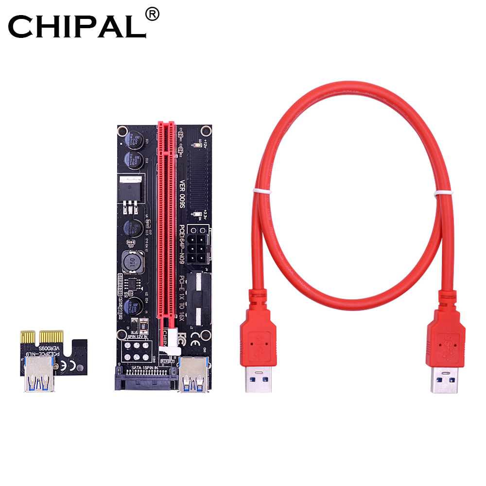 Chipal 2018 Golden Ver009s Pci-e Riser Card Pcie Pci Express Molex 6pin To Sata 1x 16x 60cm Usb 3.0 Extender With Led Indicator Computer & Office