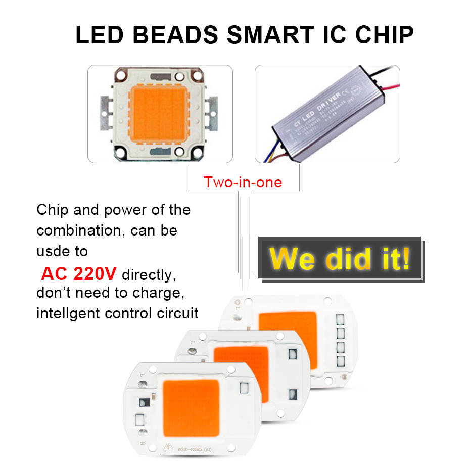 Full Spectrum COB LED Grow Light Chip 20W 30W 50W LED Chip 220V 110V 380  840nm For DIY Grow Floodlight Indoor Plant Grow&Flower -in LED Grow Lights  from ...