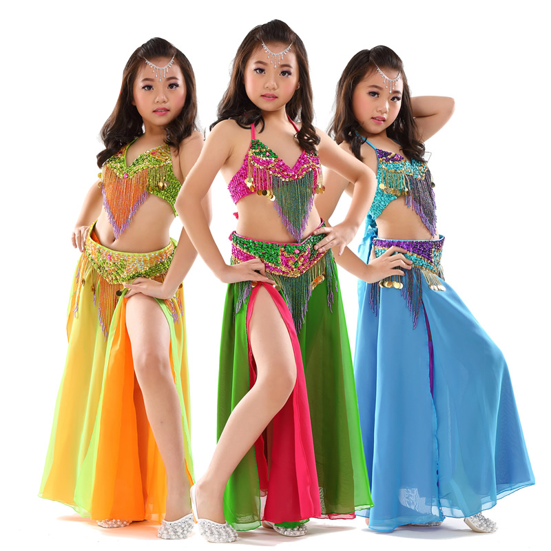 Enfants scène Performance danse du ventre vêtements 3 pièces ensemble Oriental tenue soutien-gorge, ceinture, jupe filles perlé ventre danse Costume #868
